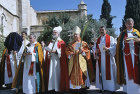 Israel, Jerusalem, Rowan Williams, the former Archbishop of Canterbury with the clergy on Palm Sunday outside St George