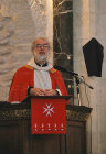 Israel, Jerusalem, Rowan Williams, the former Archbishop of Canterbury preaching from the pulpit in St George