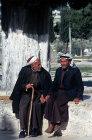 Israel, Jerusalem, two Muslim men talking near the Dome of the Rock