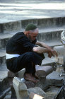 Israel, Jerusalem, Muslim washing feet before prayer