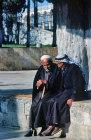 Israel, Jerusalem, two Arab men talking near the Dome of the Rock