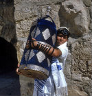Israel, Jerusalem, a Jewish boy holding the Torah at his bar mitzvah
