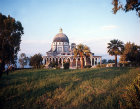 Church of the Beatitudes, built in 1930s on site of ruins of fourth century Byzantine church, above the Sea of Galilee, Israel