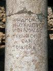 Greek inscription on column in synagogue, Capernaum, Israel
