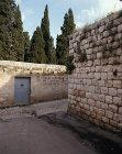 Street corner and doorway to church, Cana, Israel