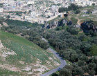 Israel, Jerusalem, Hinnom Valley looking east to Silwan Village