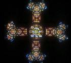 Stained glass cross, Church of St Peter in Gallicantu, Jerusalem, Israel
