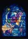 Benjamin, one of the twelve tribes of Israel, 1962 stained glass by Marc Chagall, Abbell Synagogue, Hadassah Medical Centre, Jerusalem, Israel