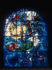 Dan, one of the twelve tribes of Israel, 1962 stained glass by Marc Chagall, Abbell Synagogue, Hadassah Medical Centre, Jerusalem, Israel