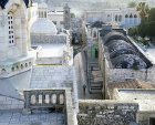 Israel, Jerusalem, looking down on the Via Dolorosa and the top of the Ecce Homo arch in the early morning