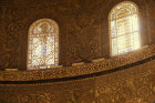 Israel, Jerusalem, the Dome of the Rock, detail of the Byzantine mosaics below the Dome and two latticed windows