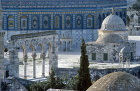 Israel, Jerusalem, the Temple Area with fountains, western facade of the Dome of the Rock showing 16th century tiles