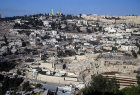Mount Zion, city walls, in centre tombs of the Judean Kings, seen across the Kidron Valley, Jerusalem, Israel