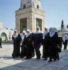 Israel, Jerusalem, eight Arab schoolgirls at the Temple area
