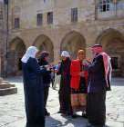 Israel, Jerusalem, an Arab with four Arab women in the Temple Area
