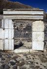 Israel, Beth Shean, doorway on Sylvanus Street with the Tel behind