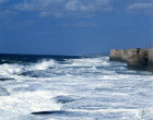 Crusader castle, rough sea, Acre, Israel