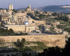 Israel, Jerusalem, the south east corner of the city wall and  Al Aqsa  Mosque and the new Jewish complex