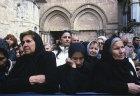 Israel, Jerusalem, Greek Orthodox widows outside Holy Sepulchre Church at Maundy Thursday feet washing