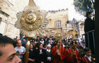 Israel, Jerusalem, Greek Orthodox outside Holy Sepulchre Church for Maundy Thursday feet washing