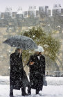 Israel, walls of Jerusalem in the snow
