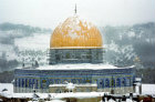 Dome of the Rock under snow, Jerusalem, Israel