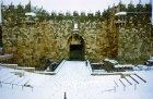 Israel, Jerusalem, Damascus Gate in the snow