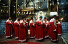 Israel, Jerusalem, robed novice priests during Mass in the Armenian Cathedral of St James