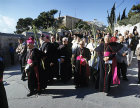 Israel, Jerusalem, Palm Sunday, Roman Catholic Cardinals leading the procession from the Mount of Olives