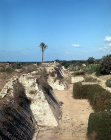 Crusader city wall and fosse built in 1251 AD, eastern section, Caesarea, Israel