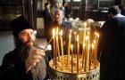 Israel, Jerusalem, december  2000 Greek Orthodox Patriarch Diodorus I lies in state