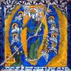 Israel, Jerusalem, the Armenian Cathedral, the Virgin and Child surrounded by Angels, Turkish Kutahya tile