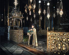 Israel, Jerusalem, Priest during a service in the Armenian Cathedral