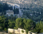 Israel, Jerusalem, view looking down from the Mount of Olives over the Garden of Gethsemane to the Kidron Valley beyond