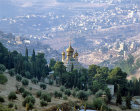 Israel, Jerusalem, view down from the Mount of Olives, the Church of Mary Magdalene and the Kidron valley