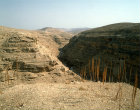 Israel, gorge near Mar Saba monastery in the Judean Hills, looking east