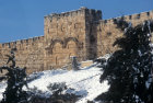 Israel, Jerusalem,  the Golden Gate with a covering of snow on the ground