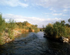 Israel, the river Jordan in early morning sunlight