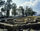 Walls of octagonal church built in fifth century over house of St Peter, Capernaum, Israel