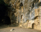 Israel, Caesarea in Philippi (Banyas), niches with Greek inscriptions where statues of Pan stood