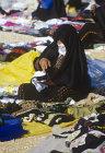Bedouin woman with embroidery, Bedouin market, Beersheva, Israel