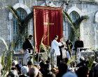 Israel, Jerusalem, Palm Sunday, former Latin Patriarch Michel Sabbah prays at St Annes Church