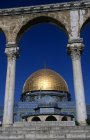 Israel, Jerusalem, Golden Dome of the Rock behind the eastern arches above the Dome of the Chain