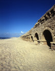 Section of high level aqueduct dating from the time of Herod, seen from the south west, Caesarea, Israel