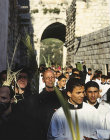 Israel, Jerusalem, Palm Sunday, clergy leading the procession along the Via Dolorosa