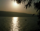 Israel, the Sea of Galilee, a boat at sunrise