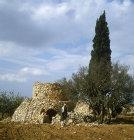 Israel, stone watch tower and arab farmer in Samaria