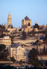 Israel, Jerusalem, Dormition Abbey and St Peter in Gallicantu at sunrise
