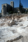 Excavations of second temple quarry, looking up to St Andrew