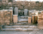 Israel, Tel Arad in the Negev, Israelite temple dating from seventh century BC, sacrificial altar in seventh century BC temple and Holy of holies